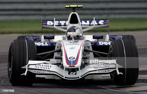 Sebastian Vettel of Germany and BMW Sauber races during the F1 Grand Prix of USA at the Indianapolis Motor Speedway on June 17 2007 in Indianapolis...