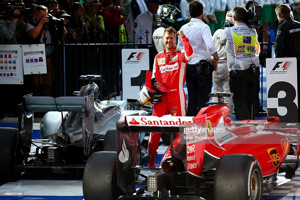 Sebastian Vettel of Germany and Ferrari celebrates in Parc Ferme after finishing third in the Australian Formula One Grand Prix at Albert Park on...