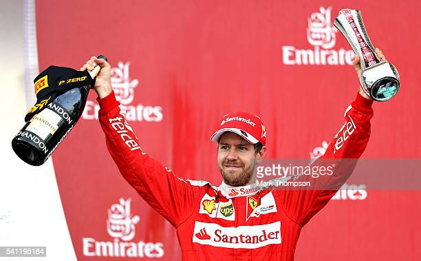 Sebastian Vettel of Germany and Ferrari celebrates on the podium during the European Formula One Grand Prix at Baku City Circuit on June 19 2016 in...