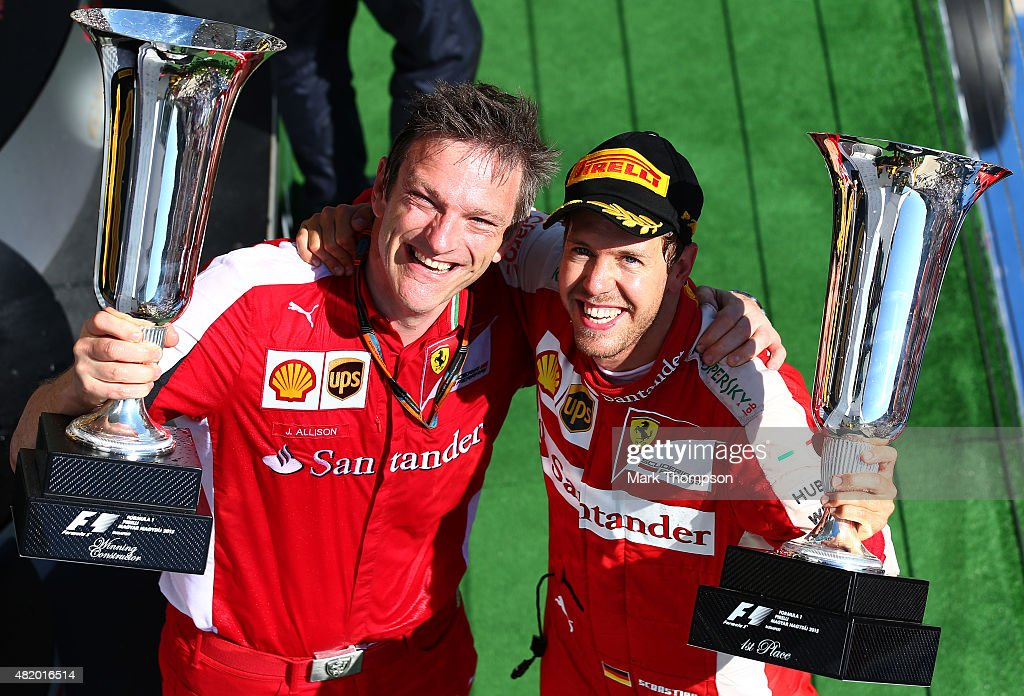 Sebastian Vettel of Germany and Ferrari celebrates with James Allison Chassis Technical Director of Ferrari after winning the Formula One Grand Prix...