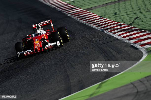 Sebastian Vettel of Germany and Ferrari drives during day four of F1 winter testing at Circuit de Catalunya on March 4 2016 in Montmelo Spain