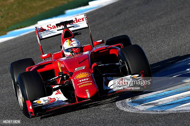Sebastian Vettel of Germany and Ferrari drives during day one of Formula One Winter Testing at Circuito de Jerez on February 1 2015 in Jerez de la...