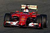 Sebastian Vettel of Germany and Ferrari drives during day one of Formula One Winter Testing at Circuito de Jerez on February 1 2015 in Jerez de la...