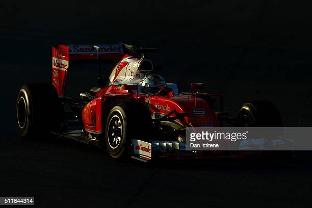 Sebastian Vettel of Germany and Ferrari drives during day two of F1 winter testing at Circuit de Catalunya on February 23 2016 in Montmelo Spain
