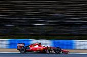 Sebastian Vettel of Germany and Ferrari drives during day two of Formula One Winter Testing at Circuito de Jerez on February 2 2015 in Jerez de la...