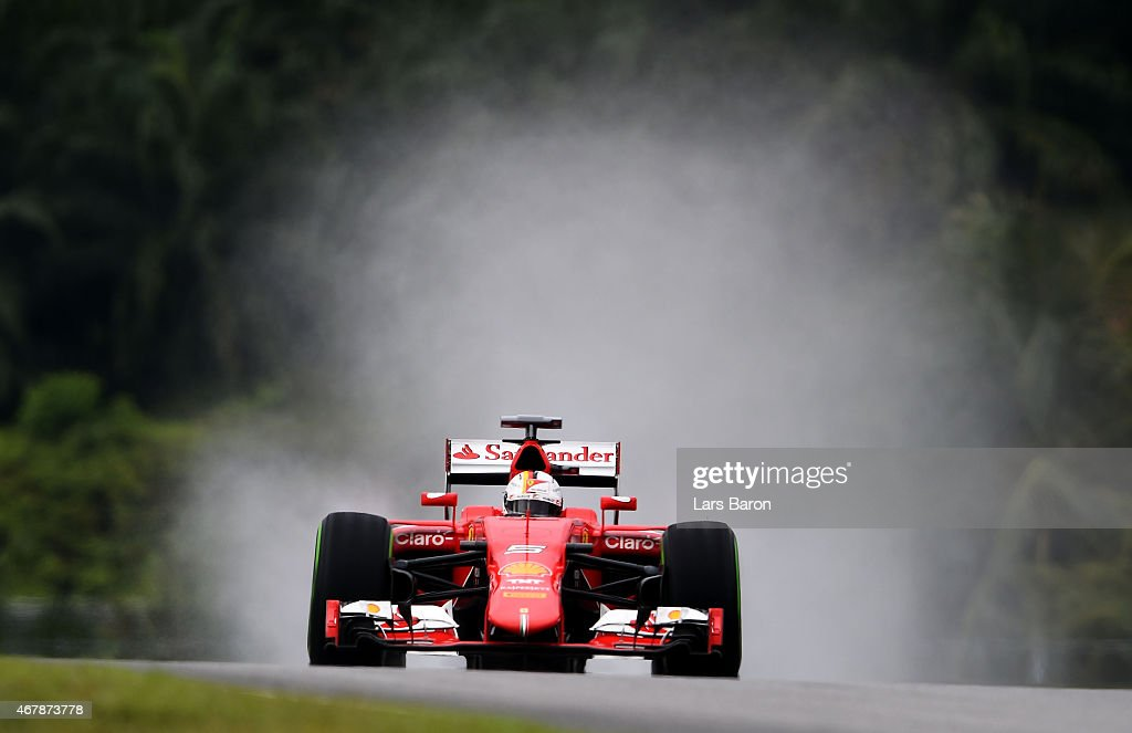 Sebastian Vettel of Germany and Ferrari drives during final practice for the Malaysia Formula One Grand Prix at Sepang Circuit on March 28 2015 in...