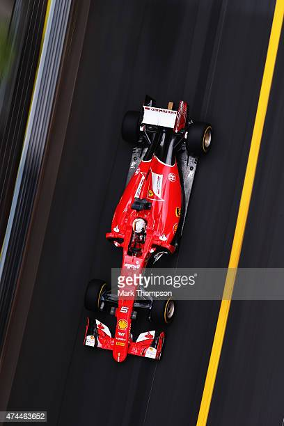 Sebastian Vettel of Germany and Ferrari drives during final practice for the Monaco Formula One Grand Prix at Circuit de Monaco on May 23 2015 in...