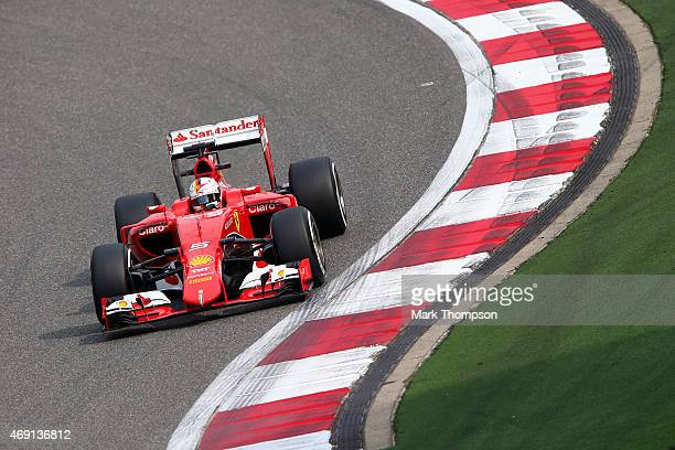 Sebastian Vettel of Germany and Ferrari drives during practice for the Formula One Grand Prix of China at Shanghai International Circuit on April 10...