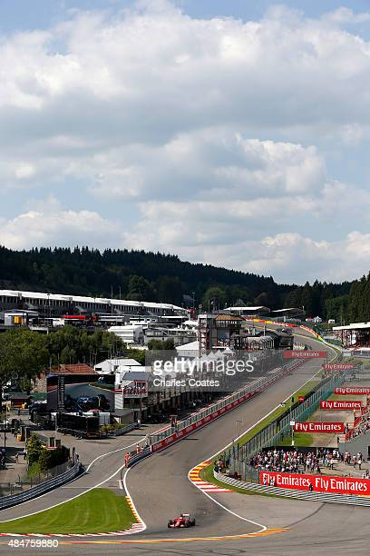 Sebastian Vettel of Germany and Ferrari drives during practice for the Formula One Grand Prix of Belgium at Circuit de SpaFrancorchamps on August 21...