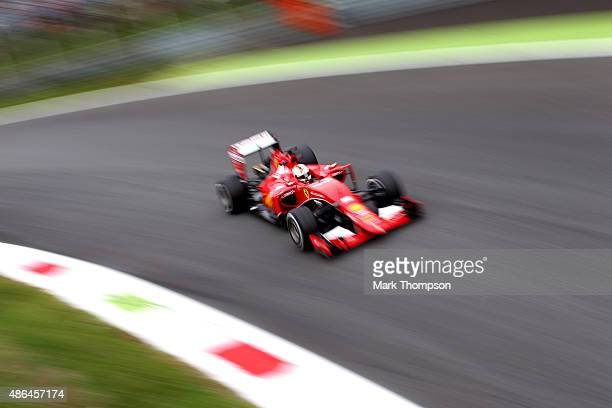Sebastian Vettel of Germany and Ferrari drives during practice for the Formula One Grand Prix of Italy at Autodromo di Monza on September 4 2015 in...