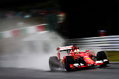 Sebastian Vettel of Germany and Ferrari drives during practice for the Formula One Grand Prix of Japan at Suzuka Circuit on September 25 2015 in...