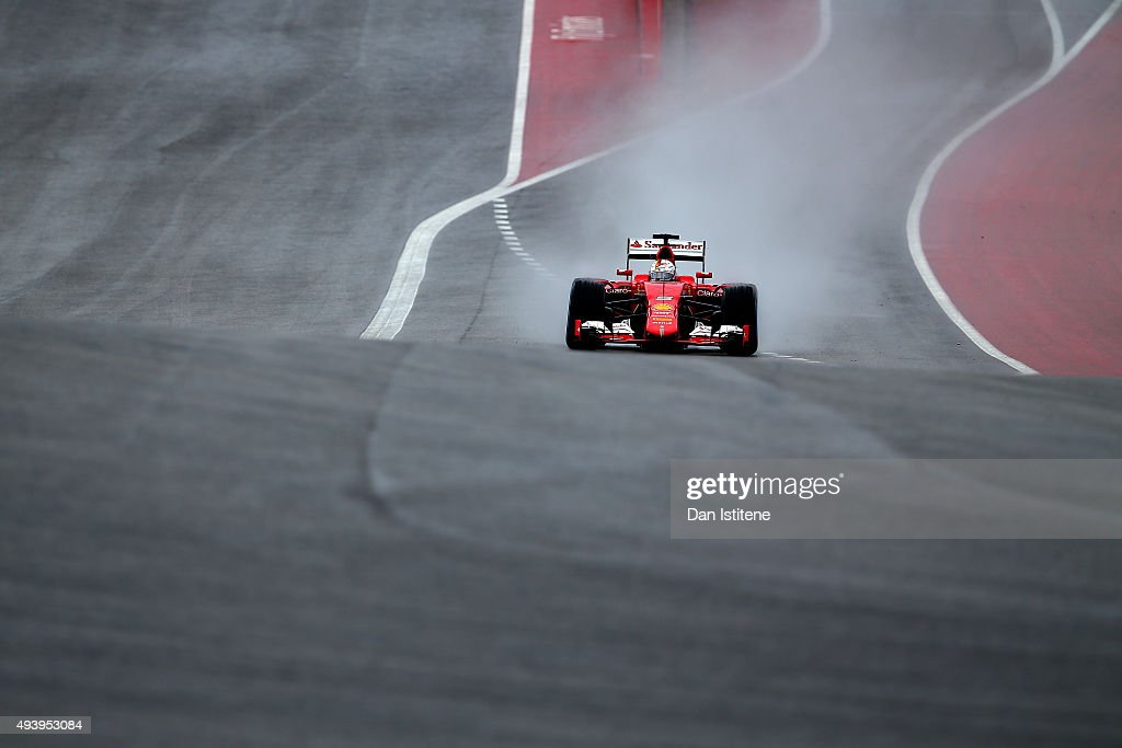 Sebastian Vettel of Germany and Ferrari drives during practice for the United States Formula One Grand Prix at Circuit of The Americas on October 23...