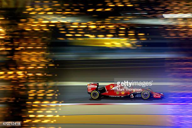 Sebastian Vettel of Germany and Ferrari drives during qualifying for the Bahrain Formula One Grand Prix at Bahrain International Circuit on April 18...