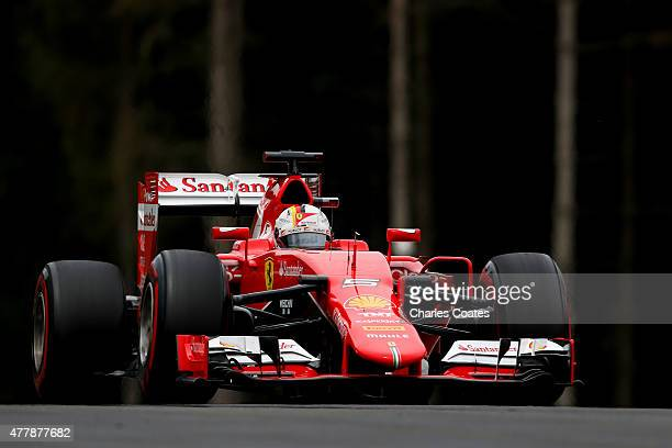 Sebastian Vettel of Germany and Ferrari drives during qualifying for the Formula One Grand Prix of Austria at Red Bull Ring on June 20 2015 in...