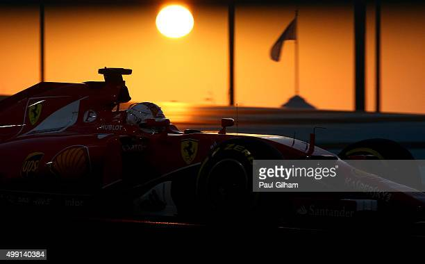 Sebastian Vettel of Germany and Ferrari drives during the Abu Dhabi Formula One Grand Prix at Yas Marina Circuit on November 29 2015 in Abu Dhabi...