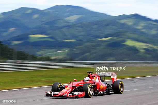 Sebastian Vettel of Germany and Ferrari drives during the Formula One Grand Prix of Austria at Red Bull Ring on June 21 2015 in Spielberg Austria