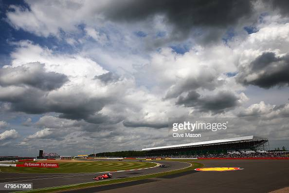 Sebastian Vettel of Germany and Ferrari drives during the Formula One Grand Prix of Great Britain at Silverstone Circuit on July 5 2015 in...