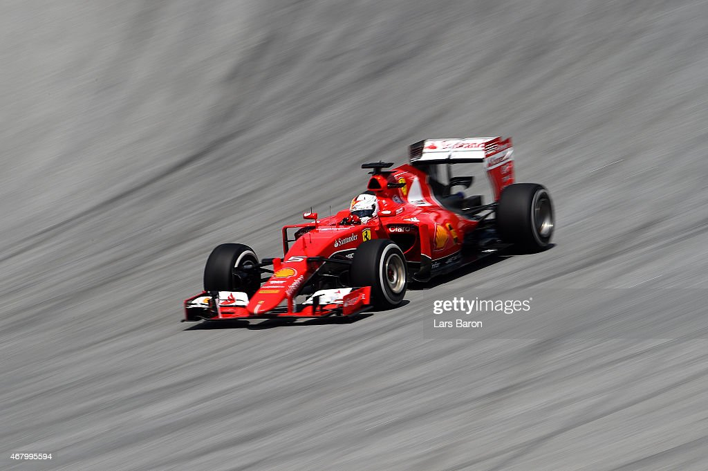 Sebastian Vettel of Germany and Ferrari drives during the Malaysia Formula One Grand Prix at Sepang Circuit on March 29 2015 in Kuala Lumpur Malaysia