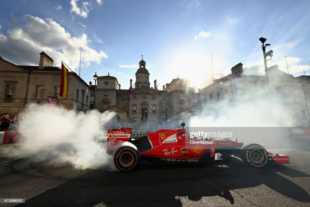 Sebastian Vettel of Germany and Ferrari driving the Ferrari SF15-T during F1 Live London at Trafalgar Square on July 12, 2017 in London, England. F1 Live London, the first time in Formula 1 history that all 10 teams come together outside of a race weekend to put on a show for the public in the heart of London.