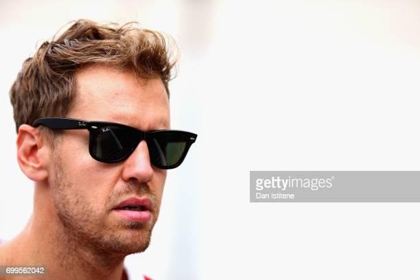 Sebastian Vettel of Germany and Ferrari during previews ahead of the European Formula One Grand Prix at Baku City Circuit on June 22 2017 in Baku...