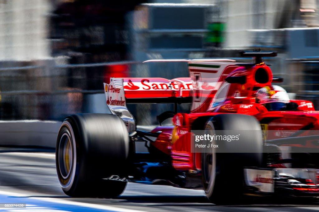 Sebastian Vettel of Germany and Ferrari during the Spanish Formula One Grand Prix at Circuit de Catalunya on May 14, 2017 in Montmelo, Spain.
