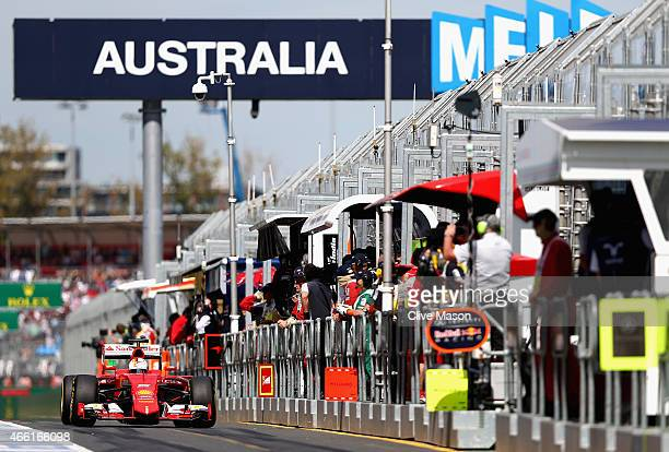 Sebastian Vettel of Germany and Ferrari exits the pit lane during final practice for the Australian Formula One Grand Prix at Albert Park on March 14...