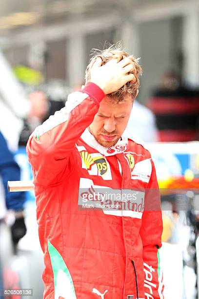 Sebastian Vettel of Germany and Ferrari in parc ferme during qualifying for the Formula One Grand Prix of Russia at Sochi Autodrom on April 30 2016...
