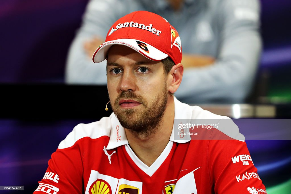 <a gi-track='captionPersonalityLinkClicked' href=/galleries/search?phrase=Sebastian+Vettel&family=editorial&specificpeople=2233605 ng-click='$event.stopPropagation()'>Sebastian Vettel</a> of Germany and Ferrari in the Drivers Press Conference during previews to the Monaco Formula One Grand Prix at Circuit de Monaco on May 25, 2016 in Monte-Carlo, Monaco.