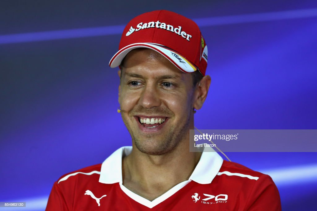 Sebastian Vettel of Germany and Ferrari in the Drivers Press Conference during previews for the Malaysia Formula One Grand Prix at Sepang Circuit on September 28, 2017 in Kuala Lumpur, Malaysia.
