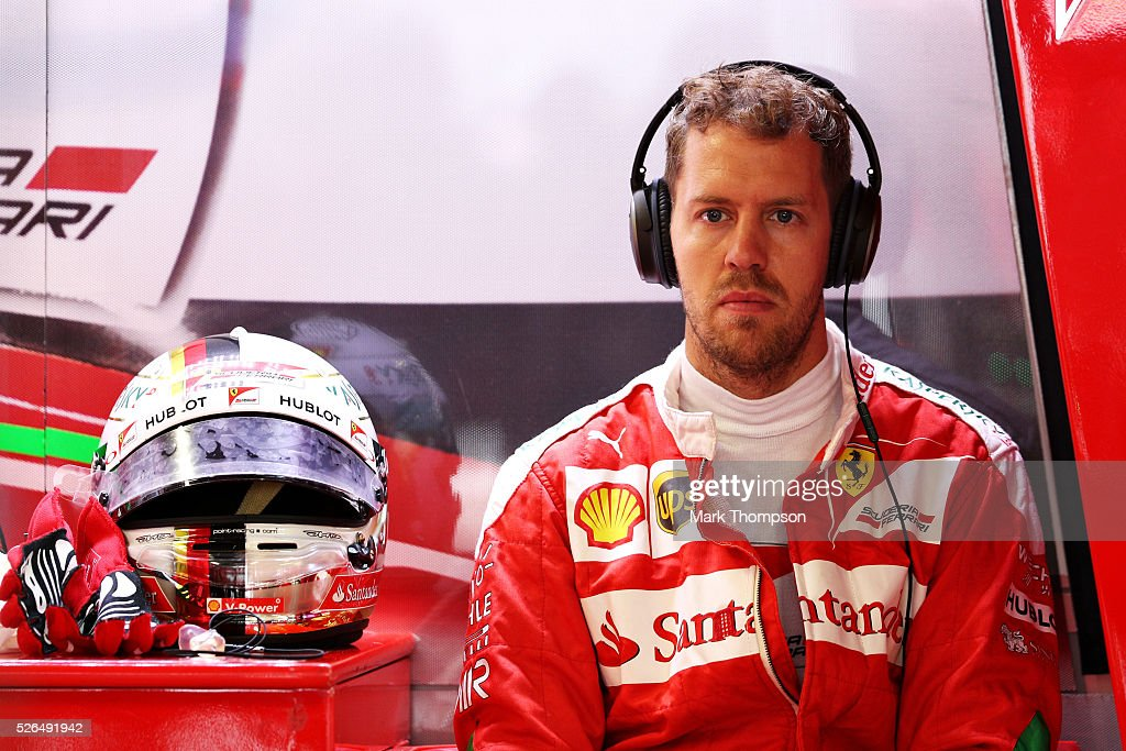 Sebastian Vettel of Germany and Ferrari in the garage during qualifying for the Formula One Grand Prix of Russia at Sochi Autodrom on April 30, 2016 in Sochi, Russia.