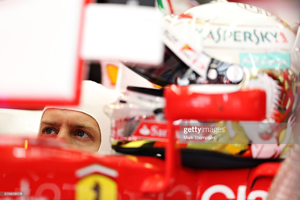 <a gi-track='captionPersonalityLinkClicked' href=/galleries/search?phrase=Sebastian+Vettel&family=editorial&specificpeople=2233605 ng-click='$event.stopPropagation()'>Sebastian Vettel</a> of Germany and Ferrari in the garage during practice for the Formula One Grand Prix of Russia at Sochi Autodrom on April 29, 2016 in Sochi, Russia.