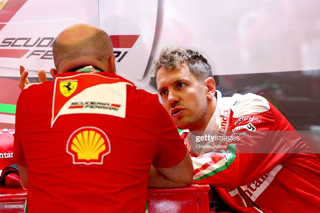 Sebastian Vettel of Germany and Ferrari in the garage during practice for the Formula One Grand Prix of Austria at Red Bull Ring on July 1, 2016 in Spielberg, Austria.