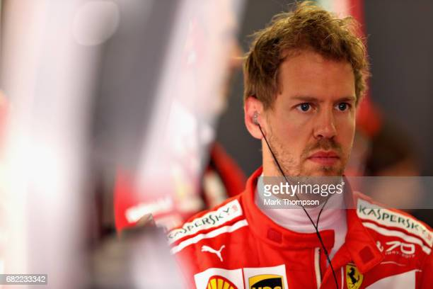 Sebastian Vettel of Germany and Ferrari in the garage during practice for the Spanish Formula One Grand Prix at Circuit de Catalunya on May 12 2017...