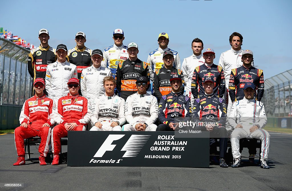 Sebastian Vettel of Germany and Ferrari, Kimi Raikkonen of Finland and Ferrari, Nico Rosberg of Germany and Mercedes GP, Lewis Hamilton of Great Britain and Mercedes GP, Daniel Ricciardo of Australia and Infiniti Red Bull Racing, Daniil Kvyat of Russia and Infiniti Red Bull Racing and Felipe Massa of Brazil and Williams, (L-R middle) Jenson Button of Great Britain and McLaren Honda, Kevin Magnussen of Denmark and McLaren Honda, Nico Hulkenberg of Germany and Force India, Sergio Perez of Mexico and Force India, Max Verstappen of Netherlands and Scuderia Toro Rosso and Carlos Sainz of Spain and Scuderia Toro Rosso, (L-R back) Romain Grosjean of France and Lotus, Pastor Maldonado of Venezuela and Lotus, Marcus Ericsson of Sweden and Sauber F1, Felipe Nasr of Brazil and Sauber F1, Will Stevens of Great Britain and Manor Marussia and Roberto Merhi of Spain and Manor Marussia pose on the grid for the drivers' photograph before the Australian Formula One Grand Prix at Albert Park on March 15, 2015 in Melbourne, Australia.