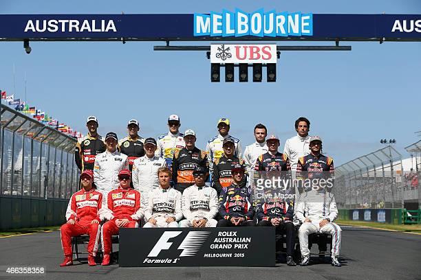 Sebastian Vettel of Germany and Ferrari Kimi Raikkonen of Finland and Ferrari Nico Rosberg of Germany and Mercedes GP Lewis Hamilton of Great Britain...