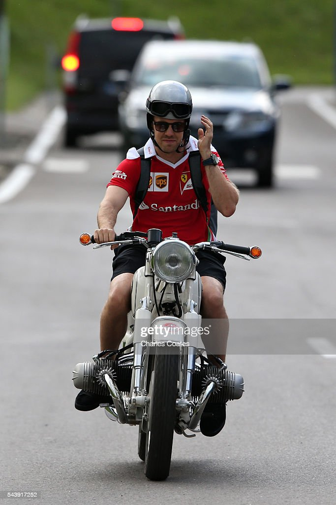 <a gi-track='captionPersonalityLinkClicked' href=/galleries/search?phrase=Sebastian+Vettel&family=editorial&specificpeople=2233605 ng-click='$event.stopPropagation()'>Sebastian Vettel</a> of Germany and Ferrari leaves the circuit on a motorbike during previews ahead of the Formula One Grand Prix of Austria at Red Bull Ring on June 30, 2016 in Spielberg, Austria.