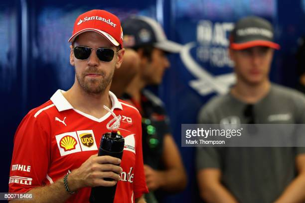 Sebastian Vettel of Germany and Ferrari on the drivers parade before the Azerbaijan Formula One Grand Prix at Baku City Circuit on June 25 2017 in...