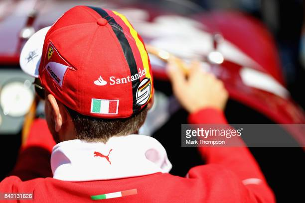 Sebastian Vettel of Germany and Ferrari on the drives parade before the Formula One Grand Prix of Italy at Autodromo di Monza on September 3 2017 in...