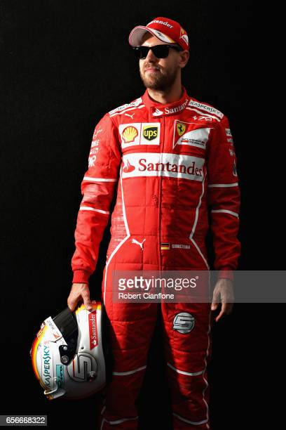 Sebastian Vettel of Germany and Ferrari poses for a portrait during previews to the Australian Formula One Grand Prix at Albert Park on March 23 2017...
