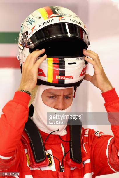 Sebastian Vettel of Germany and Ferrari prepares to drive during practice for the Formula One Grand Prix of Austria at Red Bull Ring on July 7 2017...