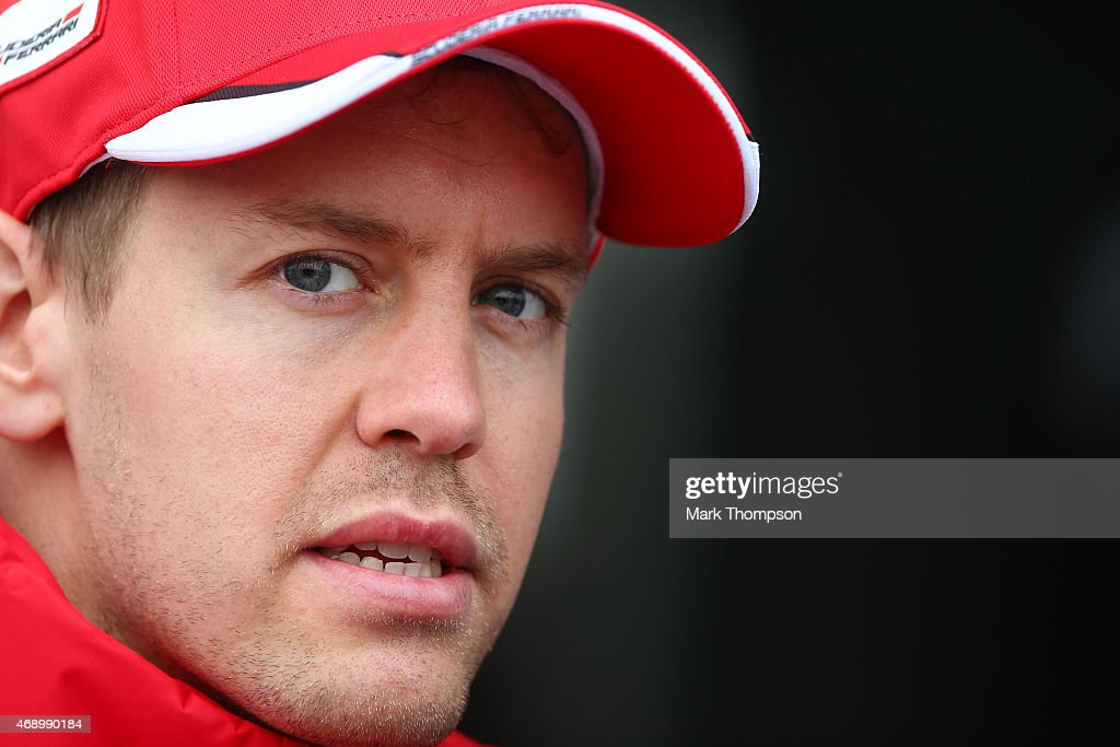 Sebastian Vettel of Germany and Ferrari speaks to the media during previews to the Formula One Grand Prix of China at Shanghai International Circuit on April 9, 2015 in Shanghai, China.