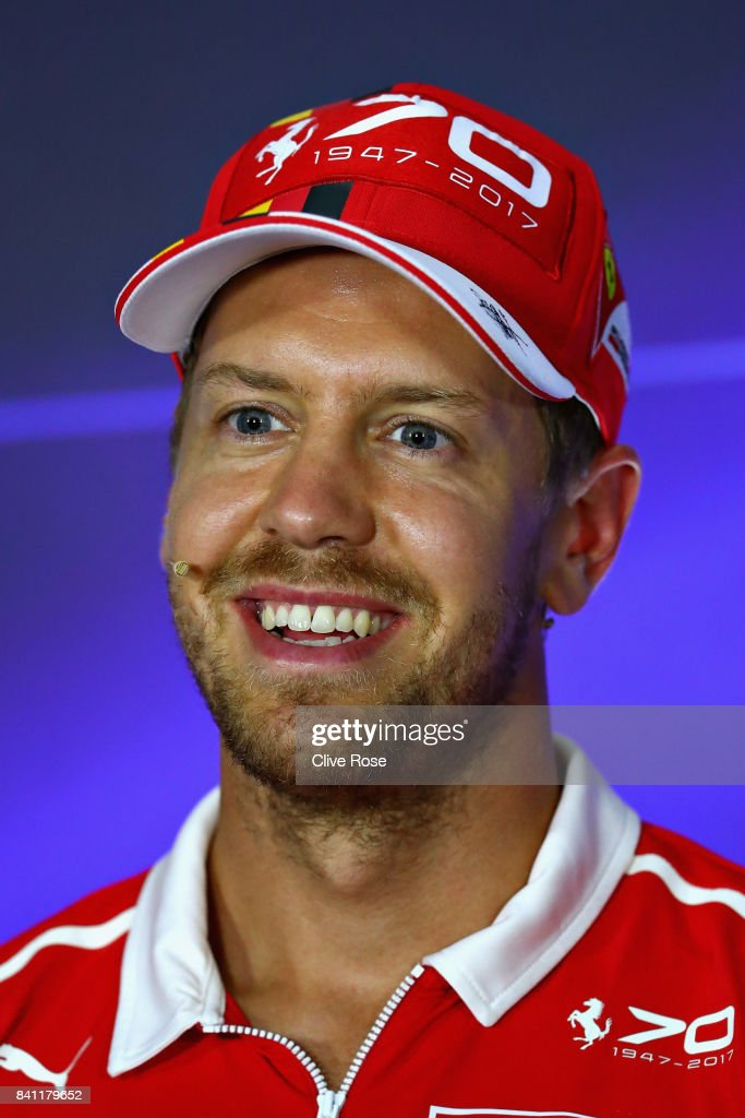 Sebastian Vettel of Germany and Ferrari talks in the Drivers Press Conference during previews for the Formula One Grand Prix of Italy at Autodromo di Monza on August 31, 2017 in Monza, Italy.