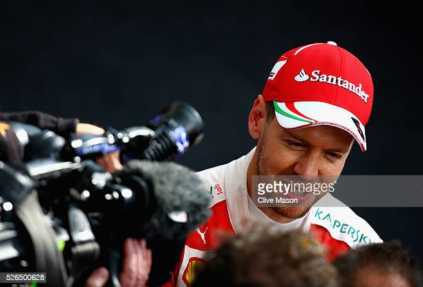 Sebastian Vettel of Germany and Ferrari talks to the press after qualifying for the Formula One Grand Prix of Russia at Sochi Autodrom on April 30...