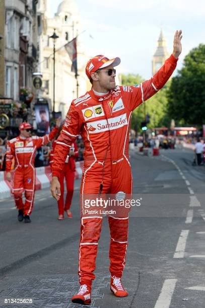 Sebastian Vettel of Germany and Ferrari waves to the fans during F1 Live London at Trafalgar Square on July 12 2017 in London England F1 Live London...