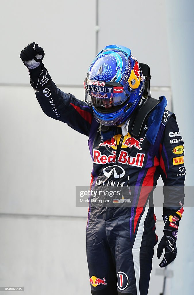 <a gi-track='captionPersonalityLinkClicked' href=/galleries/search?phrase=Sebastian+Vettel&family=editorial&specificpeople=2233605 ng-click='$event.stopPropagation()'>Sebastian Vettel</a> of Germany and Infiniti Red Bull Racing celebrates in parc ferme after winning the Malaysian Formula One Grand Prix at the Sepang Circuit on March 24, 2013 in Kuala Lumpur, Malaysia.