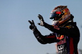 Sebastian Vettel of Germany and Infiniti Red Bull Racing celebrates after winning the United States Formula One Grand Prix at Circuit of The Americas...