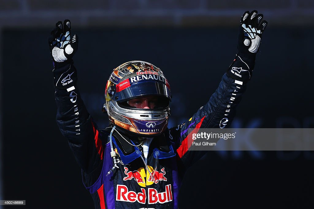 <a gi-track='captionPersonalityLinkClicked' href=/galleries/search?phrase=Sebastian+Vettel&family=editorial&specificpeople=2233605 ng-click='$event.stopPropagation()'>Sebastian Vettel</a> of Germany and Infiniti Red Bull Racing celebrates in parc ferme after winning the United States Formula One Grand Prix at Circuit of The Americas on November 17, 2013 in Austin, United States.