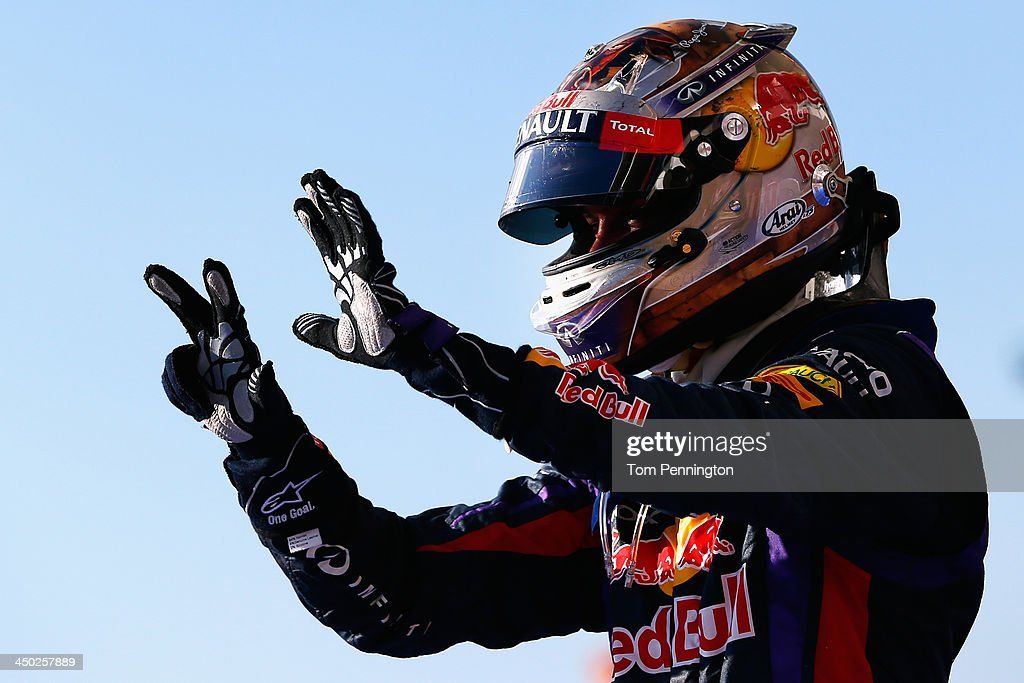 <a gi-track='captionPersonalityLinkClicked' href=/galleries/search?phrase=Sebastian+Vettel&family=editorial&specificpeople=2233605 ng-click='$event.stopPropagation()'>Sebastian Vettel</a> of Germany and Infiniti Red Bull Racing celebrates after winning the United States Formula One Grand Prix at Circuit of The Americas on November 17, 2013 in Austin, United States. Vettel has won a record-setting eight consecutive races and clinched the 2013 F1 championship title.