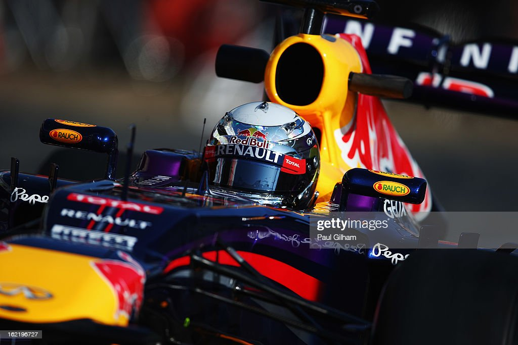 Sebastian Vettel of Germany and Infiniti Red Bull Racing drives during day two of Formula One winter test at the Circuit de Catalunya on February 20, 2013 in Montmelo, Spain.