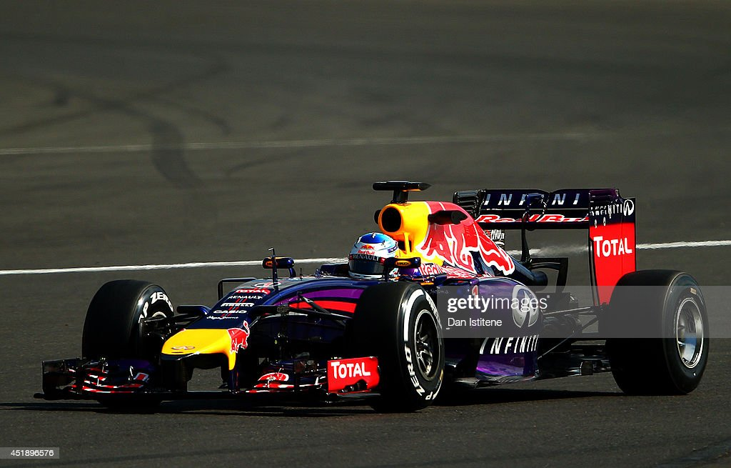 Sebastian Vettel of Germany and Infiniti Red Bull Racing drives during day two of testing at Silverstone Circuit on July 9, 2014 in Northampton, England.